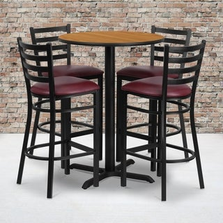 30-inch Round Natural Laminate Table Set with Four (4) Burgundy Vinyl Seat Ladder Back Metal Bar Stools