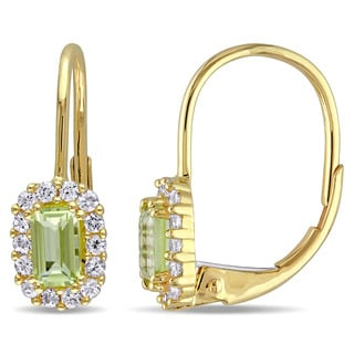 Miadora 10k Yellow Gold Peridot and White Sapphire Dangle Earrings