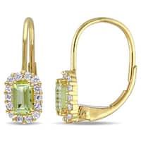 Miadora 10k Yellow Gold Peridot and White Sapphire Dangle Earrings