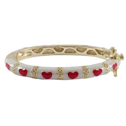 Luxiro Gold Finish Children's White and Red Enamel Heart Bangle Bracelet