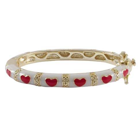 Luxiro Gold Finish Children's White and Red Enamel Heart Bangle Bracelet