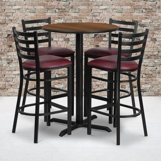 30-inch Round Walnut Laminate Table Set with Four (4) Burgundy Vinyl Seat Ladder Back Metal Bar Stools