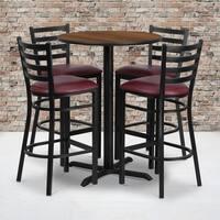 30-inch Round Walnut Laminate Table Set with Four (4) Burgundy Vinyl Seat Ladder Back Metal Bar Stools