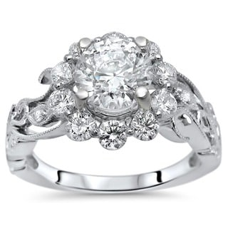 Noori 14k White Gold Moissanite and 5/6ct TDW Flower Diamond Engagement Ring (G-H, SI1-SI2)