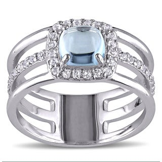 Miadora Sterling Silver Blue and White Topaz Halo Ring