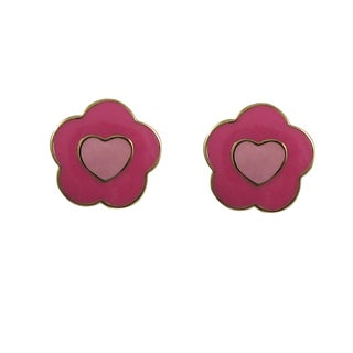 Luxiro Gold Finish Children's Pink Enamel Heart Flower Stud Earrings