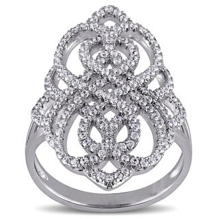 Miadora Sterling Silver Cubic Zirconia Infinity Ring