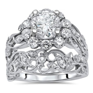 Noori 14k White Gold Moissanite and 1ct TDW Flower Diamond Engagement Ring Set (G-H, SI1-SI2)