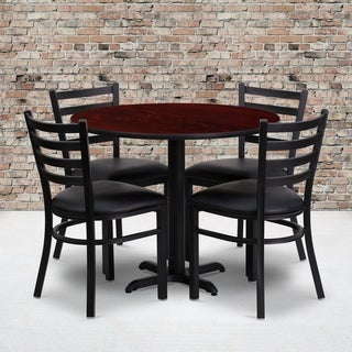 36-inch Round Mahogany Laminate Table Set with Four (4) Black Vinyl Seat Ladder Back Metal Chairs