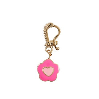 Luxiro Gold Finish Children's Pink Enamel Heart Flower Enhancer Pendant Necklace