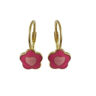 Luxiro Gold Finish Children's Pink Enamel Heart Flower Leverback Earrings