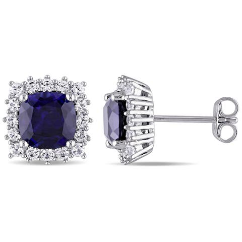 Miadora Sterling Silver Created Blue and White Sapphire Square Halo Birthstone Stud Earrings