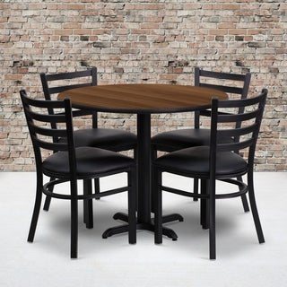 36-inch Round Walnut Laminate Table Set with Four (4) Black Vinyl Seat Ladder Back Metal Chairs