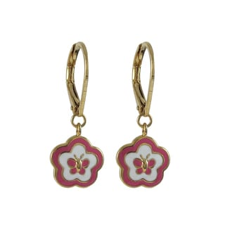 Luxiro Gold Finish Children's Pink Enamel Butterfly Flower Dangle Earrings