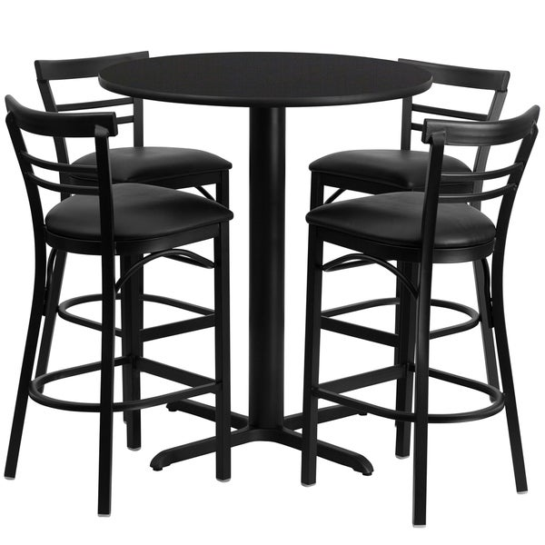24 Inch Round Black Laminate Table Set With Four 4 Black