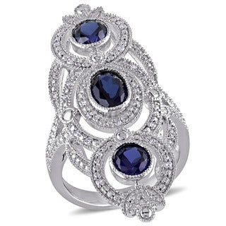 Miadora Sterling Silver Created Blue Sapphire and 1/10ct TDW Diamond Ring (G-H, I1-I2)