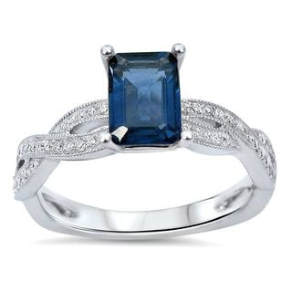 Noori 14k White Gold Emerald-cut Blue Sapphire 1/5ct TDW Diamond Engagement Ring (G-H, SI1-SI-2)
