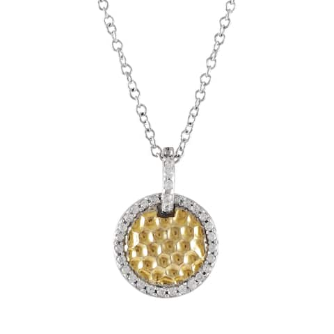 Luxiro Two-tone Sterling Silver Hammered Gold Finish Cubic Zirconia Circle Pendant Necklace