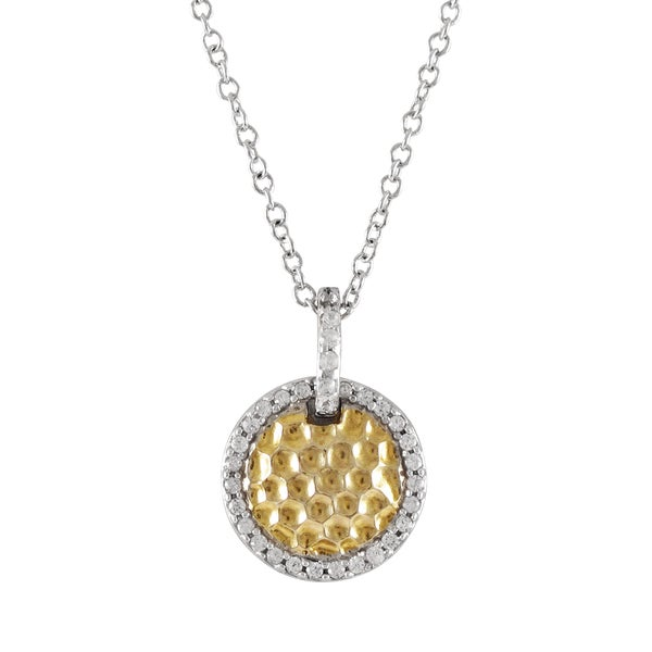 Luxiro Two-tone Sterling Silver Hammered Gold Finish Cubic Zirconia Circle Pendant Necklace. Opens flyout.