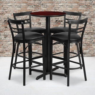 24-inch Round Mahogany Laminate Table Set with Four (4) Black Vinyl Seat Ladder Back Metal Bar Stools