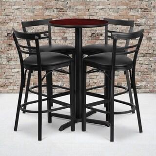 24-inch Round Mahogany Laminate Table Set with Four (4) Black Vinyl Seat Ladder Back Metal Bar Stools