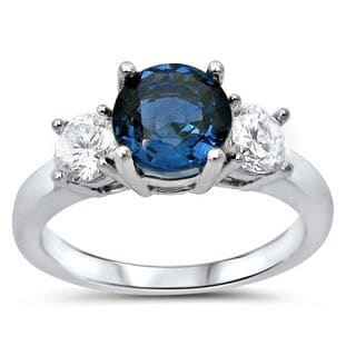 Noori 14k White Gold Blue Sapphire 3-stone 1/2ct TDW Diamond Engagement Ring (G-H, SI1-SI-2)