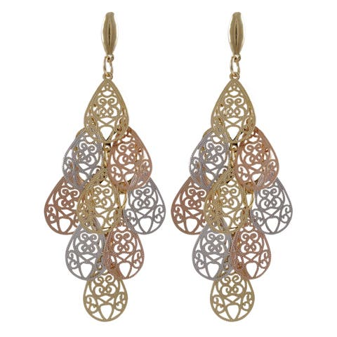 Luxiro Tri-color Gold Finish Filigree Teardrop Chandelier Dangle Earrings - Silver