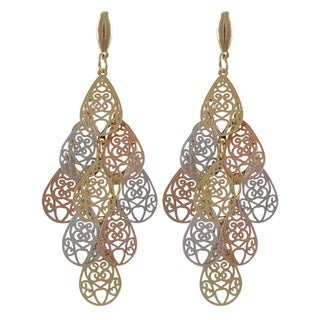 Luxiro Tri-color Gold Finish Filigree Teardrop Chandelier Dangle Earrings