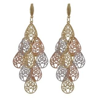 Luxiro Tri-color Gold Finish Filigree Teardrop Chandelier Dangle Earrings - Silver