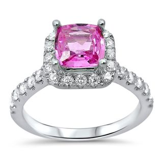 Noori 18k White Gold Pink Sapphire 1 3/5 TGW Diamond Engagement Ring (G-H, SI1-SI-2)