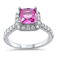 Noori 18k White Gold Pink Sapphire 1 3/5 TGW Diamond Engagement Ring (G-H, SI1-SI-2)