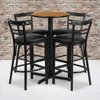 24-inch Round Natural Laminate Table Set with Four (4) Black Vinyl Seat Ladder Back Metal Bar Stools