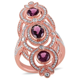 Miadora Rose Plated Silver Rhodolite and 1/10ct TDW Diamond Ring (G-H, I1-I2)