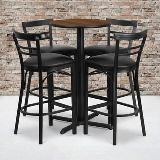 24-inch Round Walnut Laminate Table Set with Four (4) Black Vinyl Seat Ladder Back Metal Bar Stools