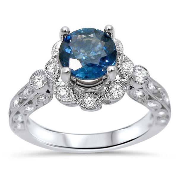 Shop Noori 14k White Gold Round Blue Sapphire 1 4ct Tdw