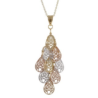 Luxiro Tri-color Gold Finish Filigree Teardrop Chandelier Pendant Necklace - Silver