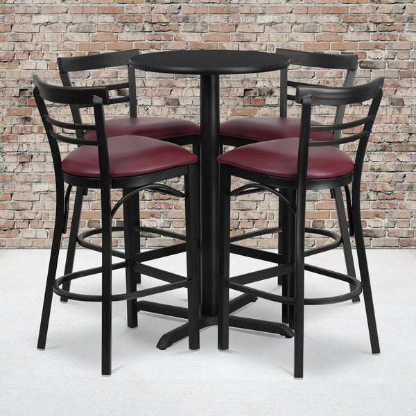 24'' Round Laminate Table Set with 4 Ladder Back Metal Barstools