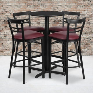 24-inch Round Black Laminate Table Set with Four (4) Burgundy Vinyl Seat Ladder Back Metal Bar Stools