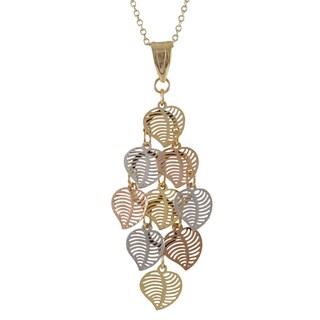 Luxiro Tri-color Gold Finish Modern Cutout Hearts Chandelier Pendant Necklace - Silver