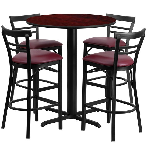 24 inch round mahogany laminate table set with four 4 burgundy vinyl seat ladder back metal. Black Bedroom Furniture Sets. Home Design Ideas