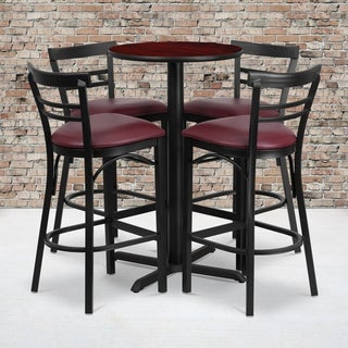 24-inch Round Mahogany Laminate Table Set with Four (4) Burgundy Vinyl Seat Ladder Back Metal Bar Stools
