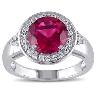Miadora Sterling Silver Created Ruby and Created White Sapphire Halo Ring