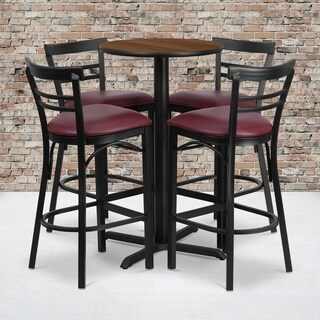 24-inch Round Walnut Laminate Table Set with Four (4) Burgundy Vinyl Seat Ladder Back Metal Bar Stools