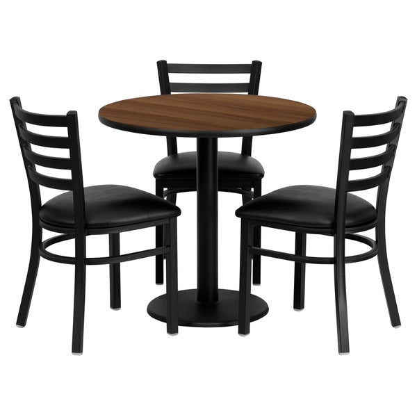 30 Inch Round Kitchen Table: Shop 30-inch Round Walnut Laminate Table Set With 3 Ladder
