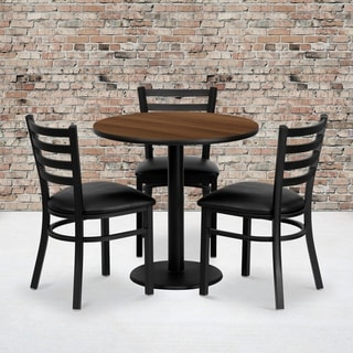 30-inch Round Walnut Laminate Table Set with 3 Ladder Back Metal Chairs