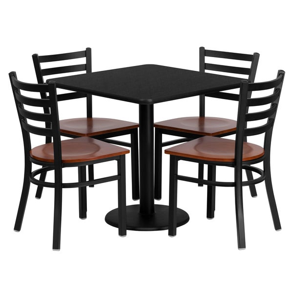 30 Inch Square Black Laminate Table Set With Four 4 Cherry Wood Seat