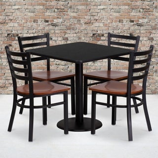 30-inch Square Black Laminate Table Set with Four (4) Cherry Wood Seat Ladder Back Metal Chairs
