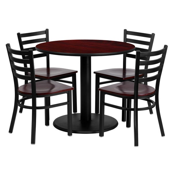 36-inch Round Mahogany Laminate Table Set With Four (4