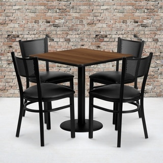 30-inch Square Walnut Laminate Table Set with Four (4) Black Vinyl Seat Grid Back Metal Chairs
