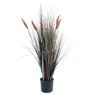 4 Foot Artificial Romano Cattail Grass - Large Faux Potted Plant for Decoration at Home, Office, or Restaurant by Pure Garden